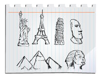 Hand drawn landmarks. Six hand drawn landmarks collection Royalty Free Stock Image