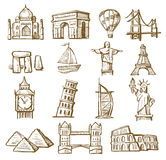 Hand drawn landmarks Stock Photos