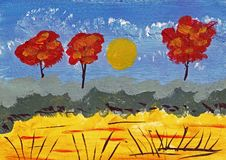 Landscsape in Autumn - Acrylic Painting. This is a hand drawn acrylic painting. The motive is a yellow field with some grasses. In the background are three Royalty Free Stock Image