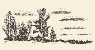 Hand drawn landscape forest meadow clouds vector Stock Photography