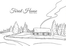 Hand drawn landscape with road to house and pine forest. Sketch line design. Vector illustration: Hand drawn landscape with road to house and pine forest. Sketch stock illustration
