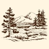 Landscape sketch Canada. Hand drawn landscape vector sketch. Pine near the lake in the foreground. at the back of the fir trees against the background of the royalty free illustration