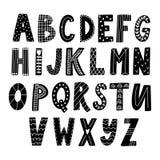 Hand drawn latin alphabet in Scandinavian style stock illustration