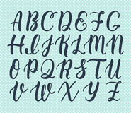 Hand drawn latin calligraphy brush script of capital letters. Calligraphic alphabet. Vector. Illustration Royalty Free Stock Photos