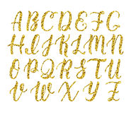 Hand drawn latin calligraphy brush script of capital letters. Gold glitter alphabet. Vector Stock Image