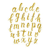 Hand drawn latin calligraphy brush script of lowercase letters. Gold glitter alphabet. Vector Royalty Free Stock Photo