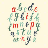 Hand drawn latin calligraphy brush script of lowercase letters in vintage colors. Calligraphic alphabet. Vector Royalty Free Stock Images