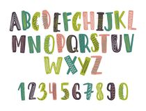 Hand drawn latin font or childish english alphabet decorated with daub or scribble. Bright colored letters arranged in. Alphabetical order and numbers isolated royalty free illustration