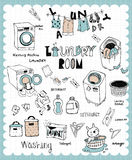Hand drawn laundry set Stock Images