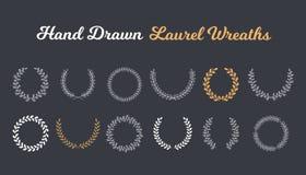 Hand Drawn Laurel Wreaths. 12 Hand drawn laurel wreaths on dark background vector illustration