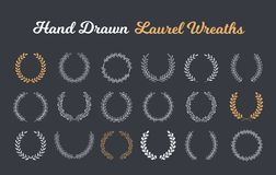 Hand Drawn Laurel Wreaths. 18 Hand drawn laurel wreaths on dark background stock illustration