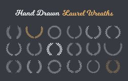Hand Drawn Laurel Wreaths. 18 Hand drawn laurel wreaths on dark background vector illustration