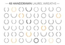 Hand Drawn Laurel Wreaths. Set of 48 hand drawn laurel wreaths on white background vector illustration