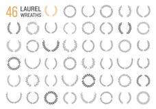 Hand Drawn Laurel Wreaths. Set of 46 hand drawn laurel wreaths on white background vector illustration