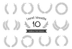 Hand Drawn Laurel Wreaths. 10 Hand drawn laurel wreaths on white background royalty free illustration