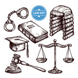 Hand Drawn Law Set vector illustration