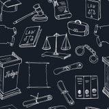 Hand drawn law symbols seamless pattern Stock Photos
