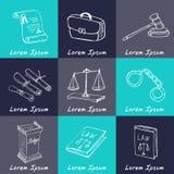 Hand drawn law symbols set Stock Images