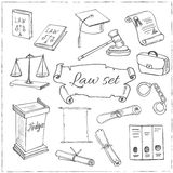Hand drawn law symbols set Stock Photography