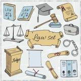 Hand drawn law symbols set Royalty Free Stock Photo