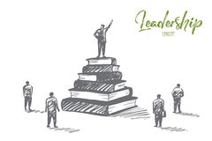 Hand drawn leader standing on books heap tribune. Vector hand drawn Leadership concept sketch with speaker standing on tribune made of books heap with his hand royalty free illustration