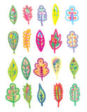 Hand Drawn Leaf Set. A set of colorful hand drawn leaves Stock Photo