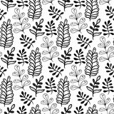 Hand drawn leaves background in black and white color. Seamless pattern with elegant leaves for your design wallpapers, pattern fi Royalty Free Stock Images