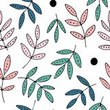 Hand drawn leaves and dots, seamless vector pattern, pink and green colors vector illustration