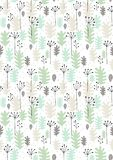 Hand Drawn Leaves and Twigs Vector Pattern. Grey, Black and Mint Green Design, White Background. Seamless Graphic. stock illustration