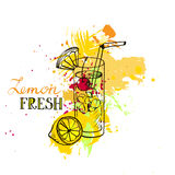 Hand drawn lemonade in glass Royalty Free Stock Photos