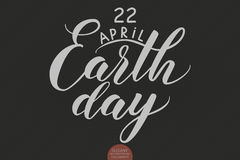 Hand drawn lettering 22 April Earth Day. Elegant modern handwritten calligraphy. Vector Ink illustration. Stock Images