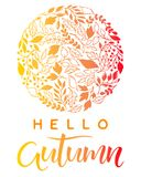 Seasons greetings card. Hand drawn lettering autumn with leaves arranged in a circle in fall colors .Seasons greetings card perfect for prints, flyers, banners Stock Illustration