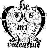 Hand drawn lettering Be my valentine, Valentine`s day postcard Royalty Free Stock Image