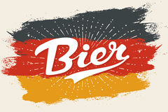 Hand drawn lettering Beer. Hand drawn lettering Bier on Germany flag background. Colorful vintage drawing for bar, pub and trendy beer themes. Print for poster Royalty Free Stock Images