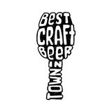 Hand drawn lettering best craft beer in glass. Stock Images