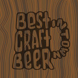 Hand drawn lettering best craft beer in glass. Stock Image