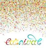 Hand Drawn Lettering for Carnival Party with Colorful Confetti. Poster, Card, Banner, Template. Illustration Vector Royalty Free Stock Photos