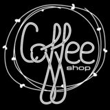 Hand drawn lettering `coffee shop` design. Vector illustration for cafe banner. vector illustration