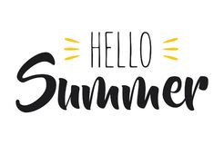 Hand drawn lettering composition of hello summer with a sun. Illustration of Hand drawn lettering composition of hello summer with a sun Royalty Free Stock Photo