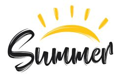 Hand drawn lettering composition of summer with a sun. Illustration of Hand drawn lettering composition of summer with a sun Stock Image