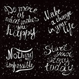 Hand drawn lettering design. Conceptual handwritten phrase. Set with hand drawn inspirational and motivating phrases.  Conceptual lettering, calligraphy Royalty Free Stock Images