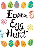 Hand drawn lettering. Easter egg hunt. Easter eggs with different hand drawn ornaments. Inscription and eggs isolated on the white background vector illustration