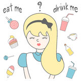 Hand drawn lettering eat me drink me card illustration with Alice in wonderland, candies, juice, tea, ice cream, cupcake, l Royalty Free Stock Images