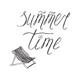 Hand drawn lettering element Summer time and chaise lounge. Doodle sketch style. Vector calligraphy. Hand drawn lettering element Summer time and chaise lounge stock illustration