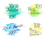 Hand drawn lettering elements design for brazilian label, badge, poster, banner, card with two variant name Rio. And de Janeiro in different style isolated on Stock Photo