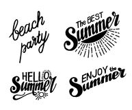 Hand drawn lettering elements for Summer calligraphic designs. Stock Photo