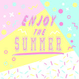 Hand drawn lettering enjoy the summer with bright background. Abstract design card for prints, flyers, banners, invitations. Hand drawn lettering enjoy the stock illustration