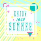 Hand drawn lettering enjoy your summer with bright background. Abstract design card for prints, flyers, banners, invitations. Hand drawn lettering enjoy your Stock Photos