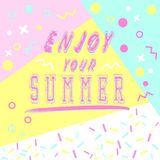 Hand drawn lettering enjoy your summer with bright background. Abstract design card for prints, flyers, banners, invitations. royalty free illustration