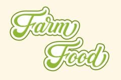 Hand drawn lettering Farm Food with outline and shadow. Vector Ink illustration. Typography poster on light background royalty free illustration